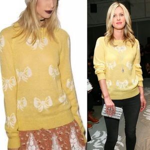 NWT Wildfox White Label Yellow French Bow Sweater